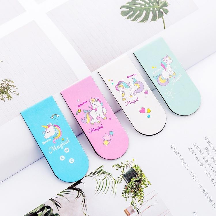 Korea creative new pink girl heart Unicorn magnet bookmark bookmark creative mini book folder flip book folder