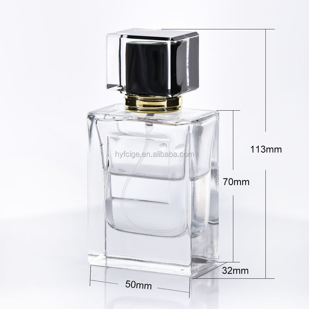 Hot selling 50ml High quality materia perfume glass bottle with luxury acrylic atomizer top and crimped cap