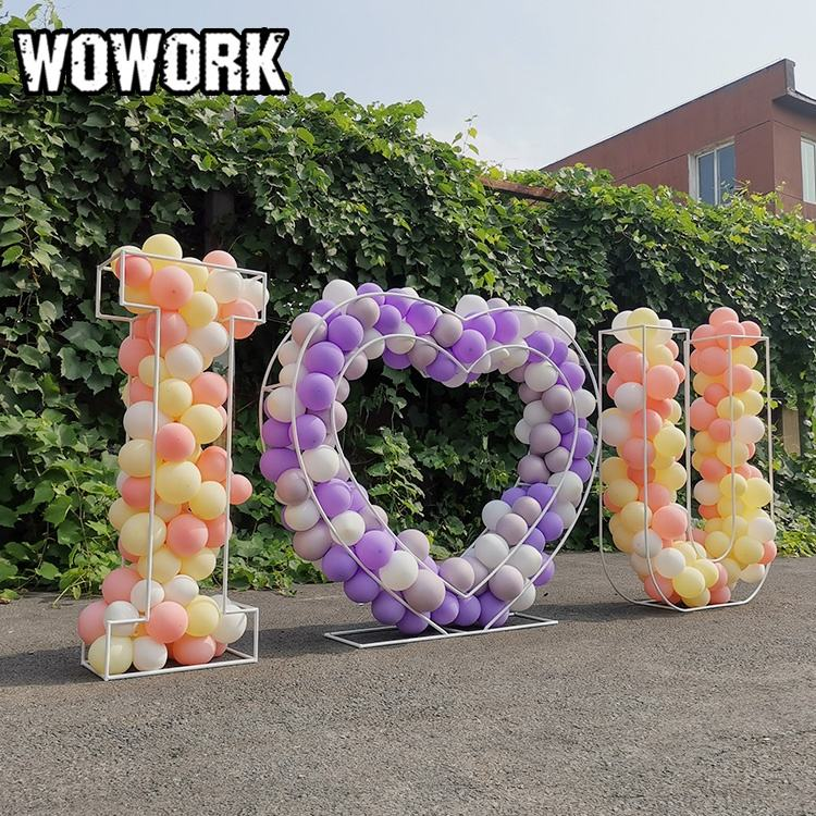 WOWORK custom 3D geometric wire letter for balloon flower decorative LOVE metal letters outdoor wedding