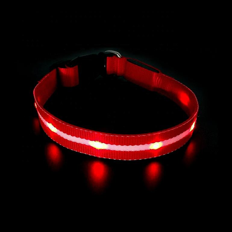 LED Lights Dog Pets Collars Adjustable Polyester Glow in Night Pet Cat Puppy Safe Luminous Flashing Necklace Supplies
