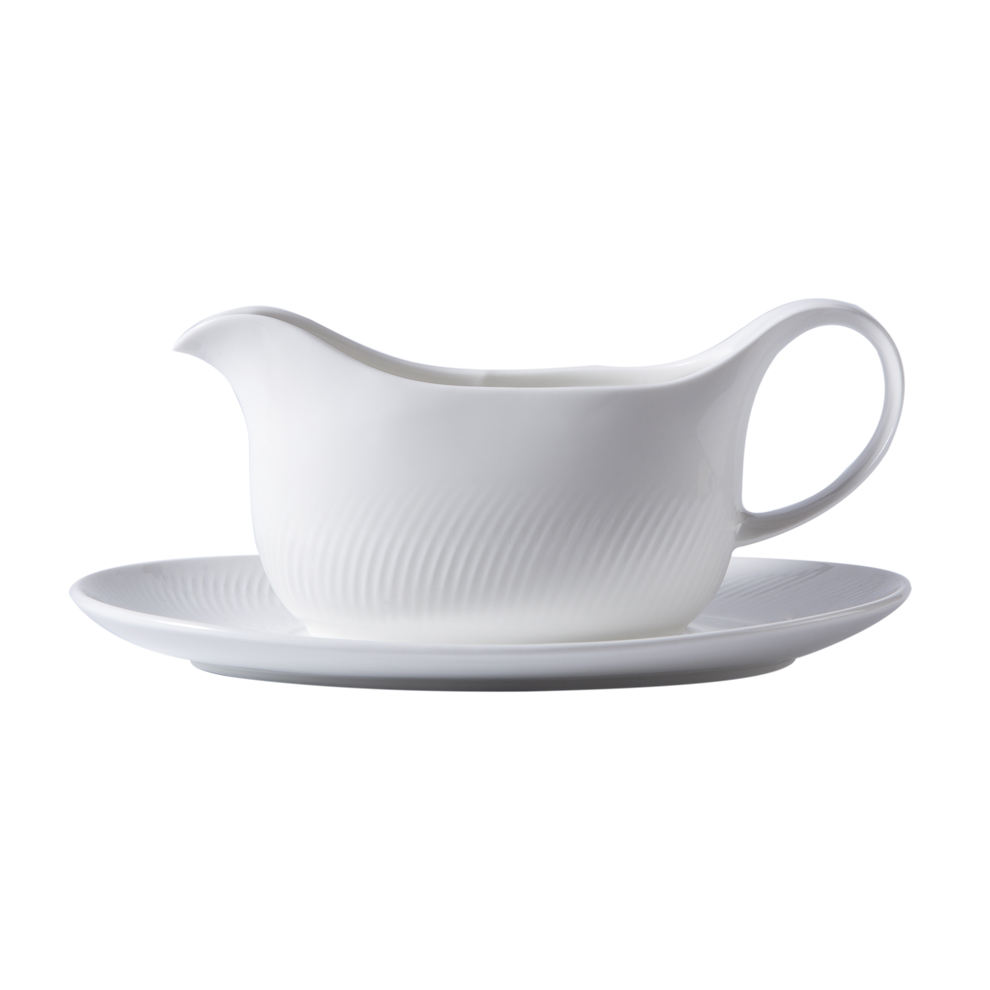 YAYU Nodic Fashionable private logo white glaze porcelain novelty gravy boat ceramic table mike sauce dispenser with saucer