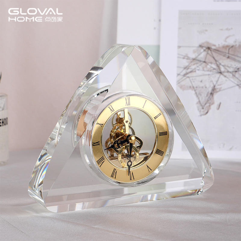 Modern K9 crystal mechanical clock ornaments creative home bedroom office table clock