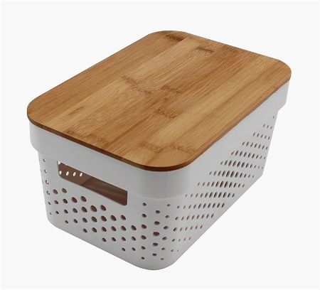 36*27*22cm large white rectangular plastic organizer storage basket with lid,storage box with bamboo cover