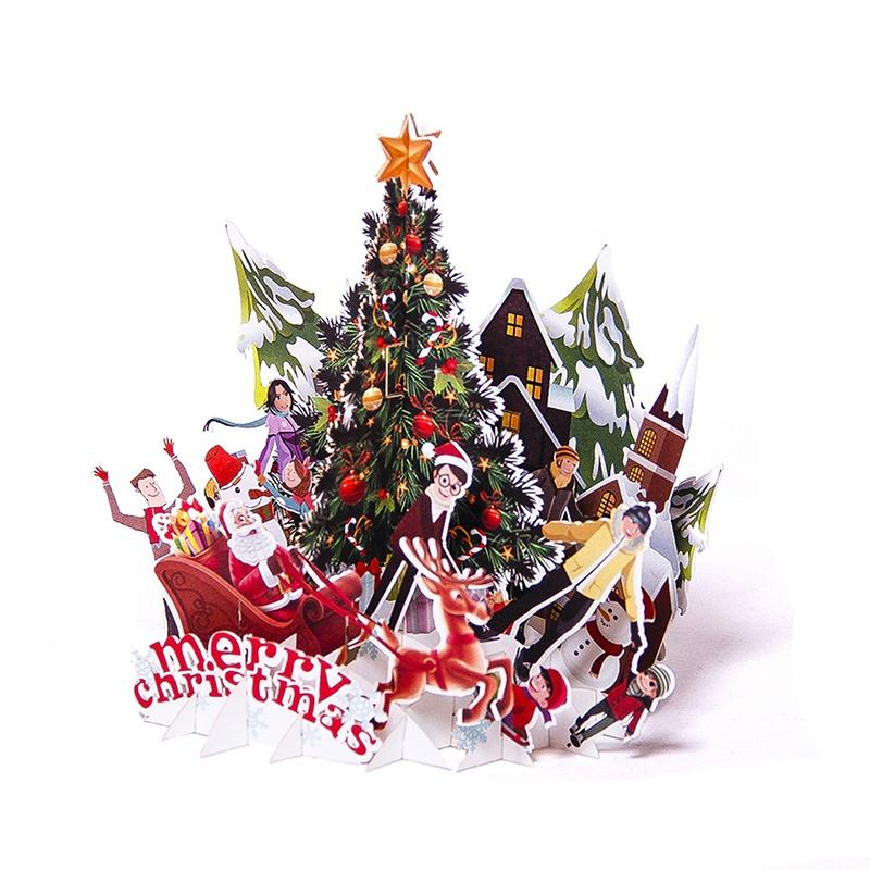 Promotional Christmas Tree Greeting Paper Card Merry Christmas 3D Card