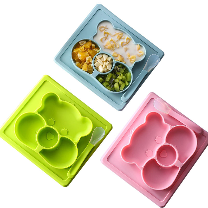 Cartoon Food Feeding Dishes Tray Dinner Tableware Silicone Children Baby Divided Plate Mat With Spoon