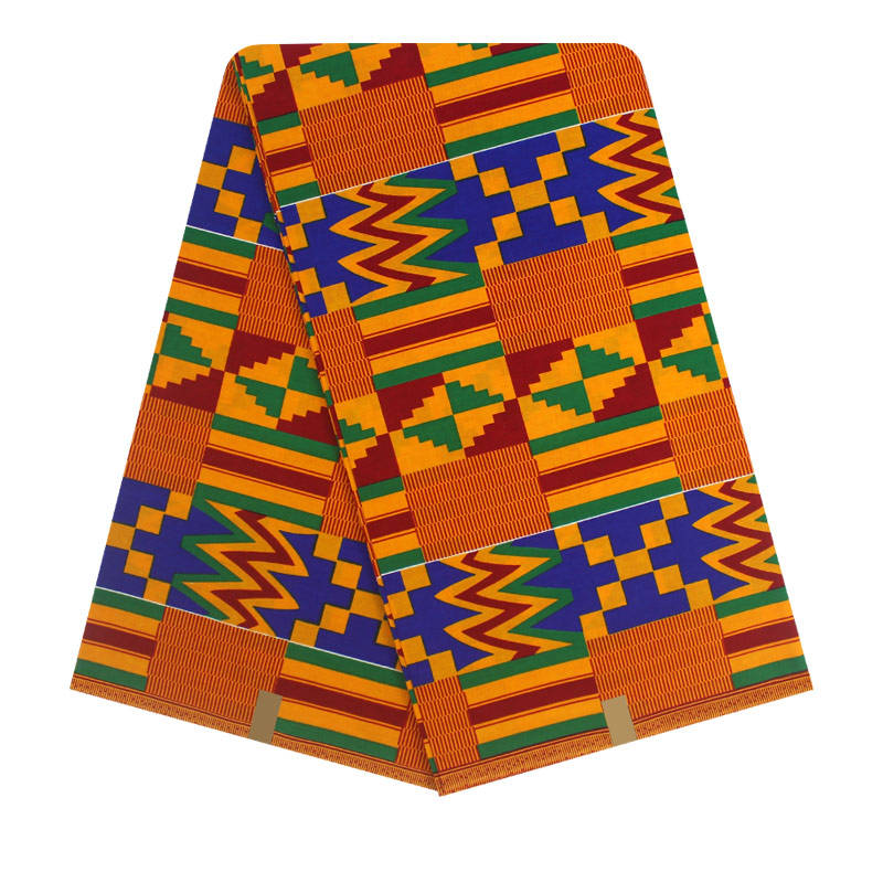 High Quality African Cotton Kente Wax Prints Fabric Colorful Classical Geometric Patterns Fabric