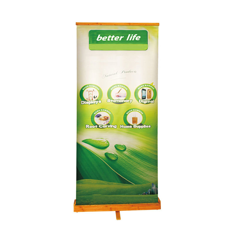 High quality advertising promotional black roll up stand with Bamboo bracket