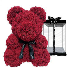 Wholesale artificial soap flower rose teddy bear 40cm box valentines day rose teddy bear
