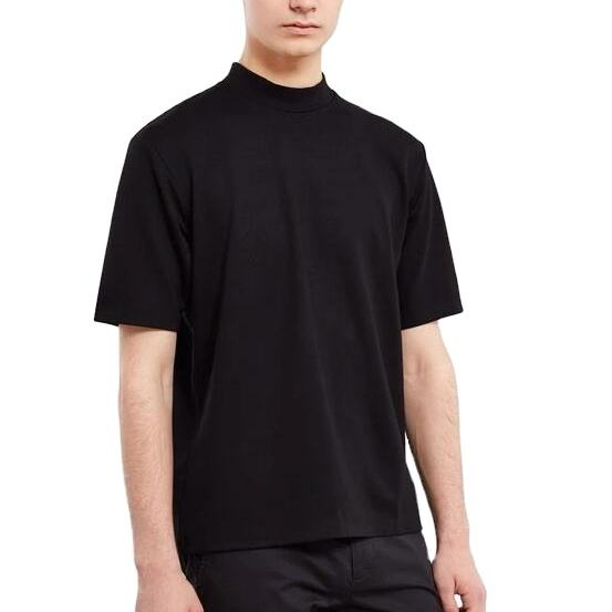 Wholesale mock neck t shirt short sleeve plain no brand t-shirt