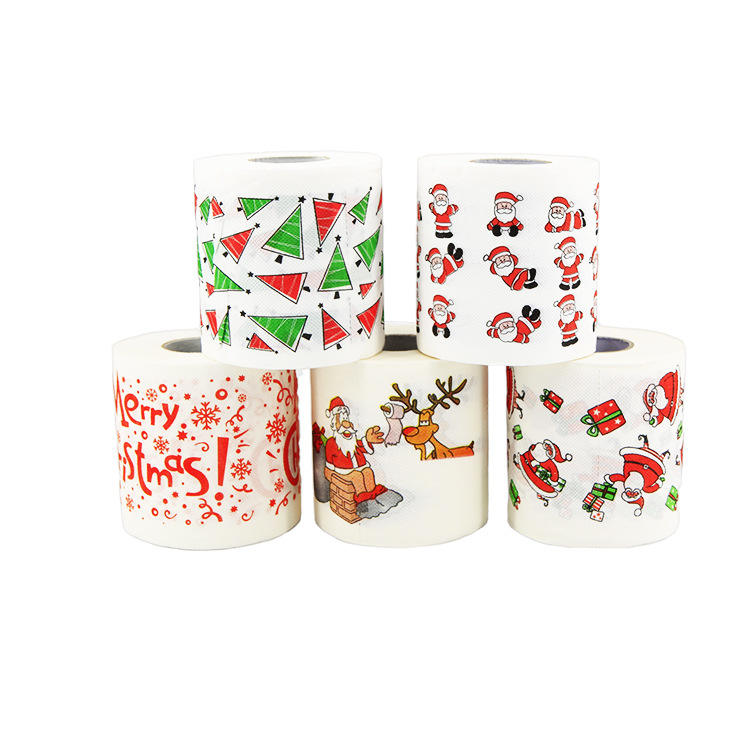 Custom print ultra soft christmas toilet paper