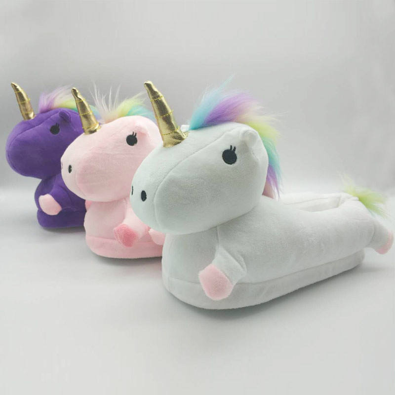 3 Colors Plush Unicorn Slippers Hot Sale OEM Plush Unicorn Slippers For Indoor Cute Fluffy Cozy White Unicorn Anti Slip Shoes