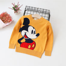 winter new mickey pattern loose round collar head long sleeve children sweater