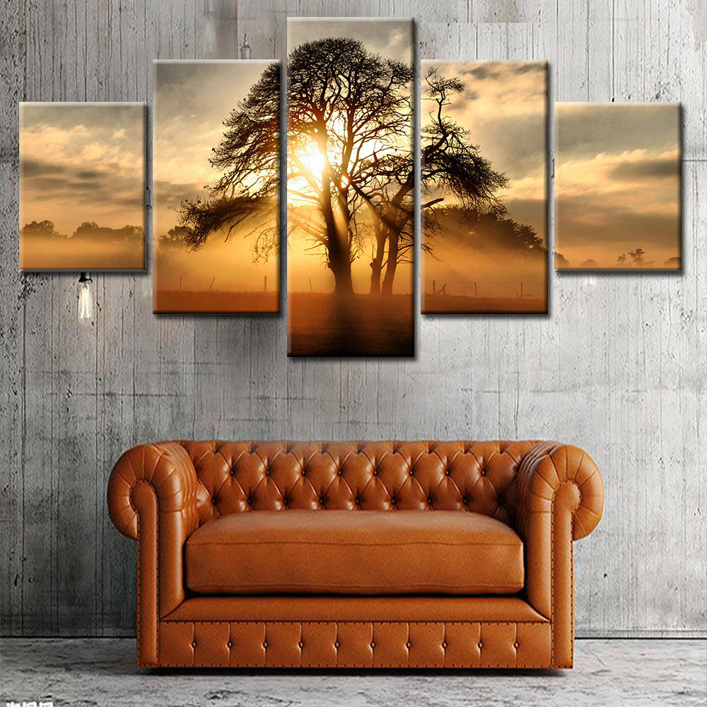 Modern 5 Frameless Canvas Sunlight Through Fog Printing Wall Art Home Decoration 5 Living Room Picture