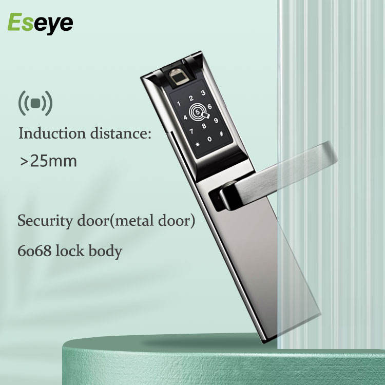 Bluetooth Digital Card Access Control Biometric Fingerprint Smart Door Lock Left Push Handle With Remote Control For Home