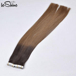 LeShine Hair Russian Balayage Skin Weft 100% Ombre Double Drawn Remy Human Hair extension Tape in Ponytail Custom Hair Products