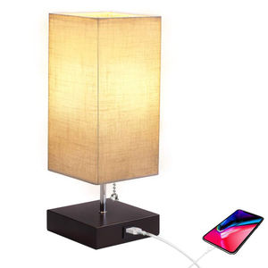 decorative smart lamp table lampen study lamp wooden home goods designed USB charging port bed side lamps