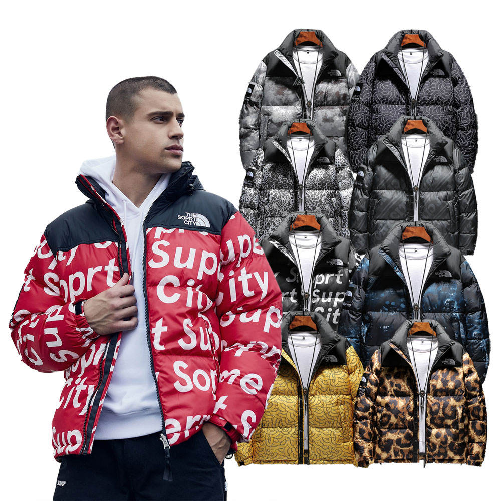 Plus Size Wind breaker Fashion Winter Clothing All Over Print Trench Bubble Puffer men's jacket Coat