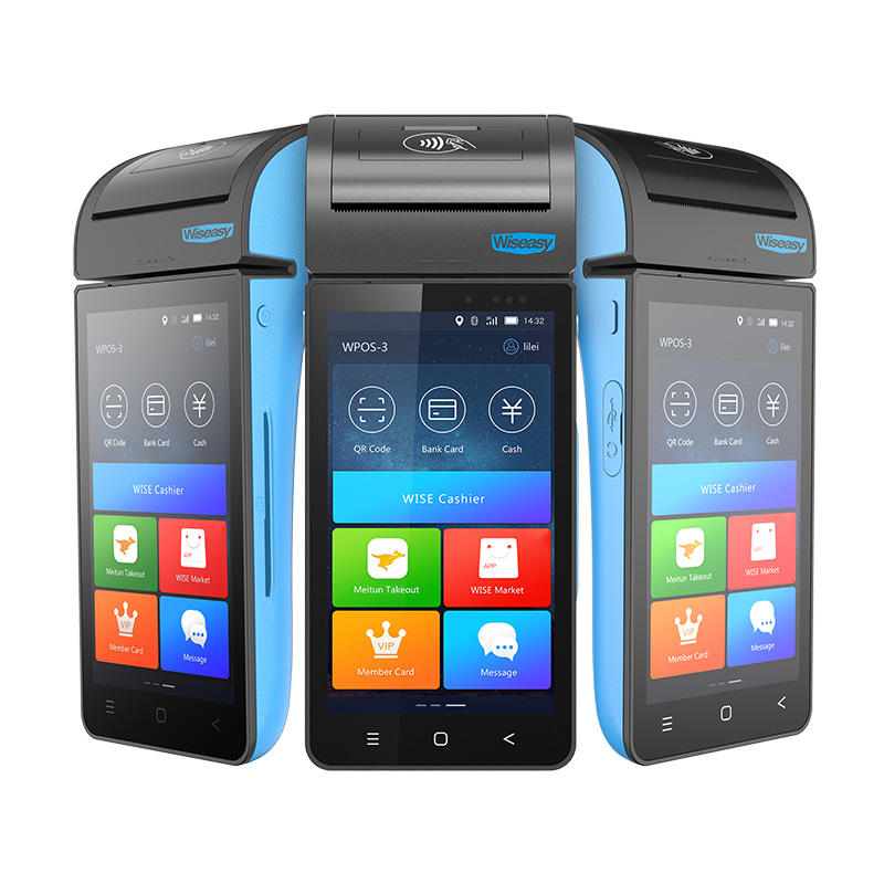 Thermal printer touch screen handheld 4G android pos terminal WPOS-3 android pos with printer