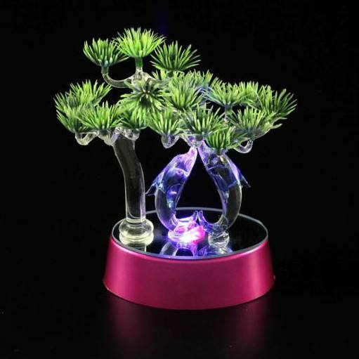 YearsCrystal flower tree crystal with Dolphins sculpture on led base R-0903