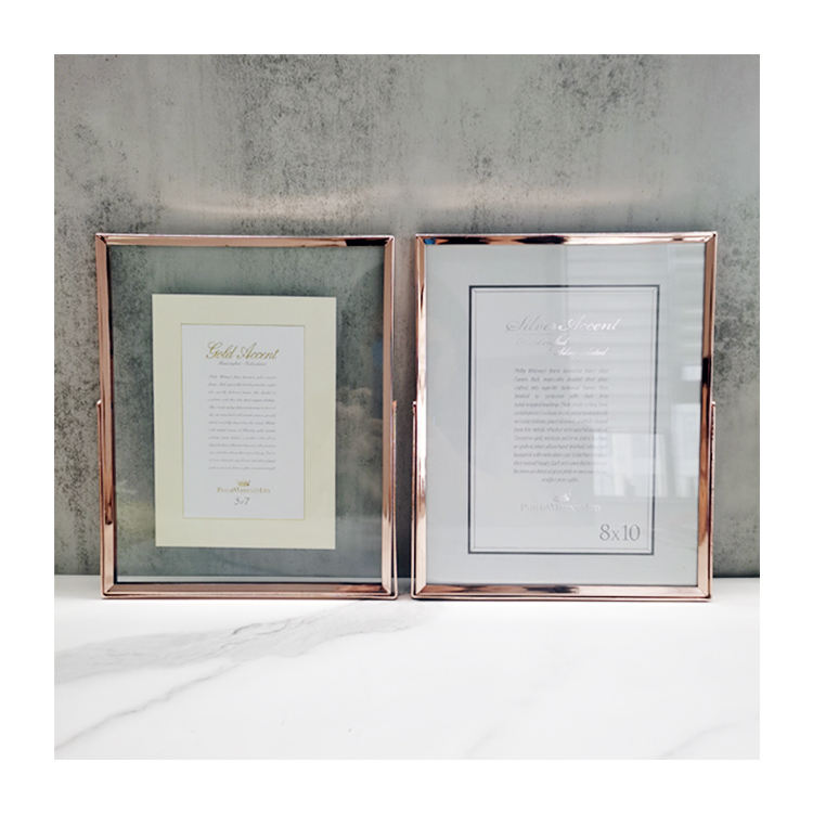 Home Decorative Picture Art family photo frame Glass Rose Gold Steel Metal Photo Frame