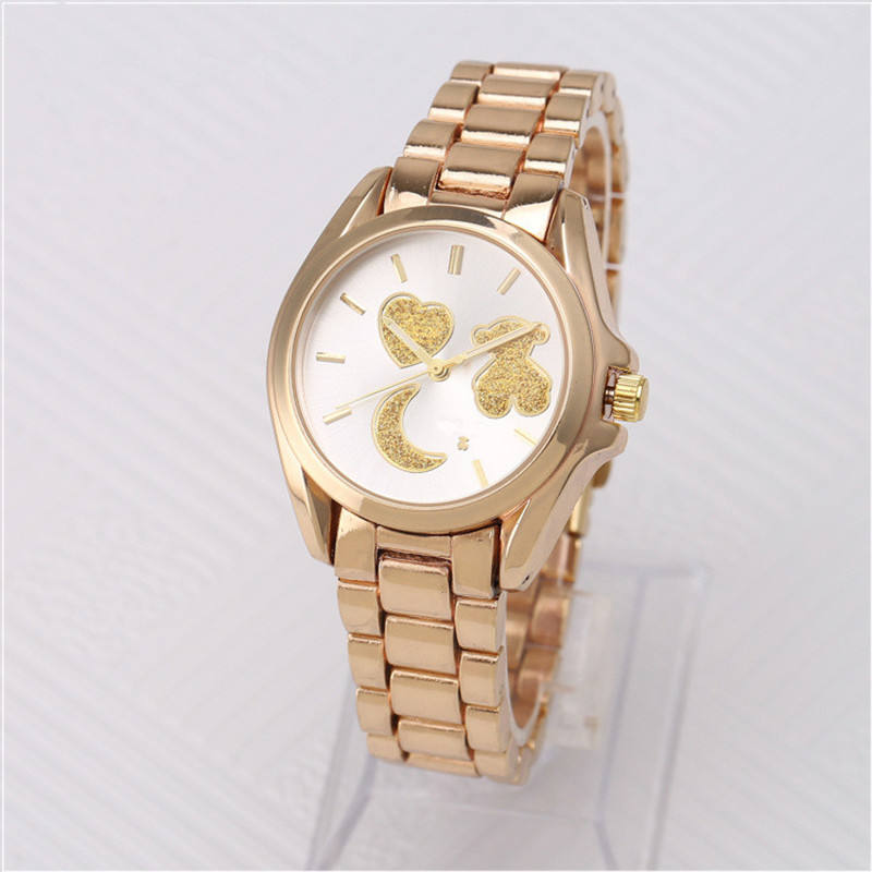 OEM Ladies Luxury Fashion Gold Rose Bear Sample Dial Girl Watches