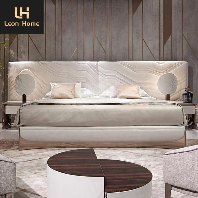 Italy design luxury king size bed beautiful high back big headboard white leather beds for couples