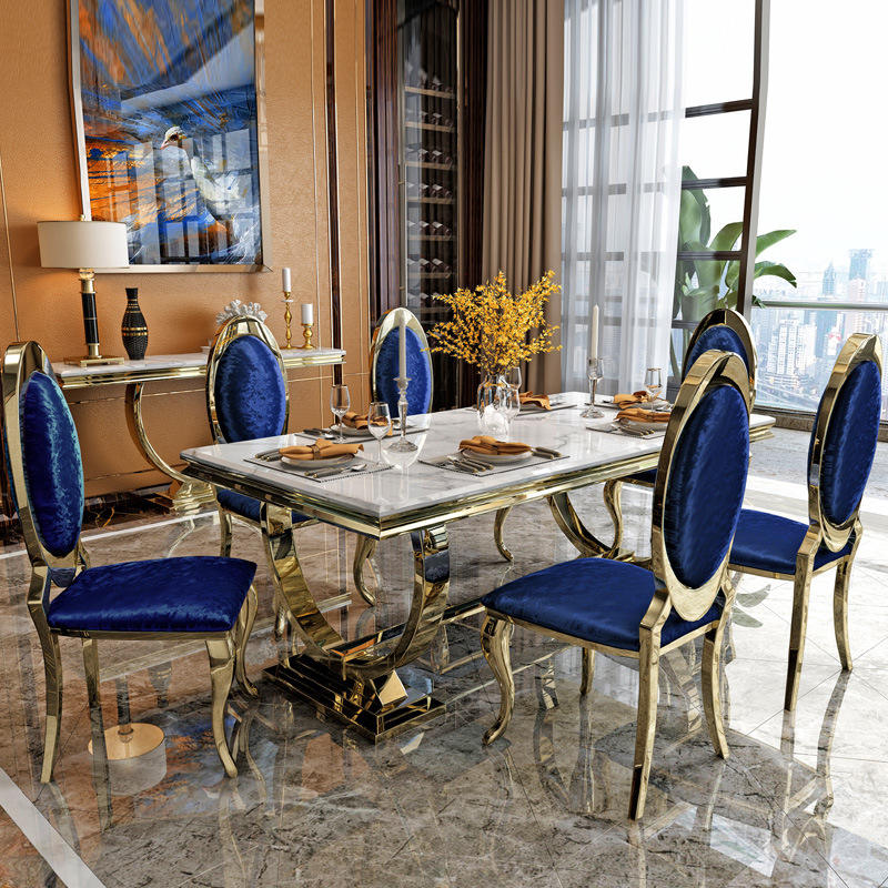 Luxury Stylish gold dining table sets stainless steel dinning table for dining room