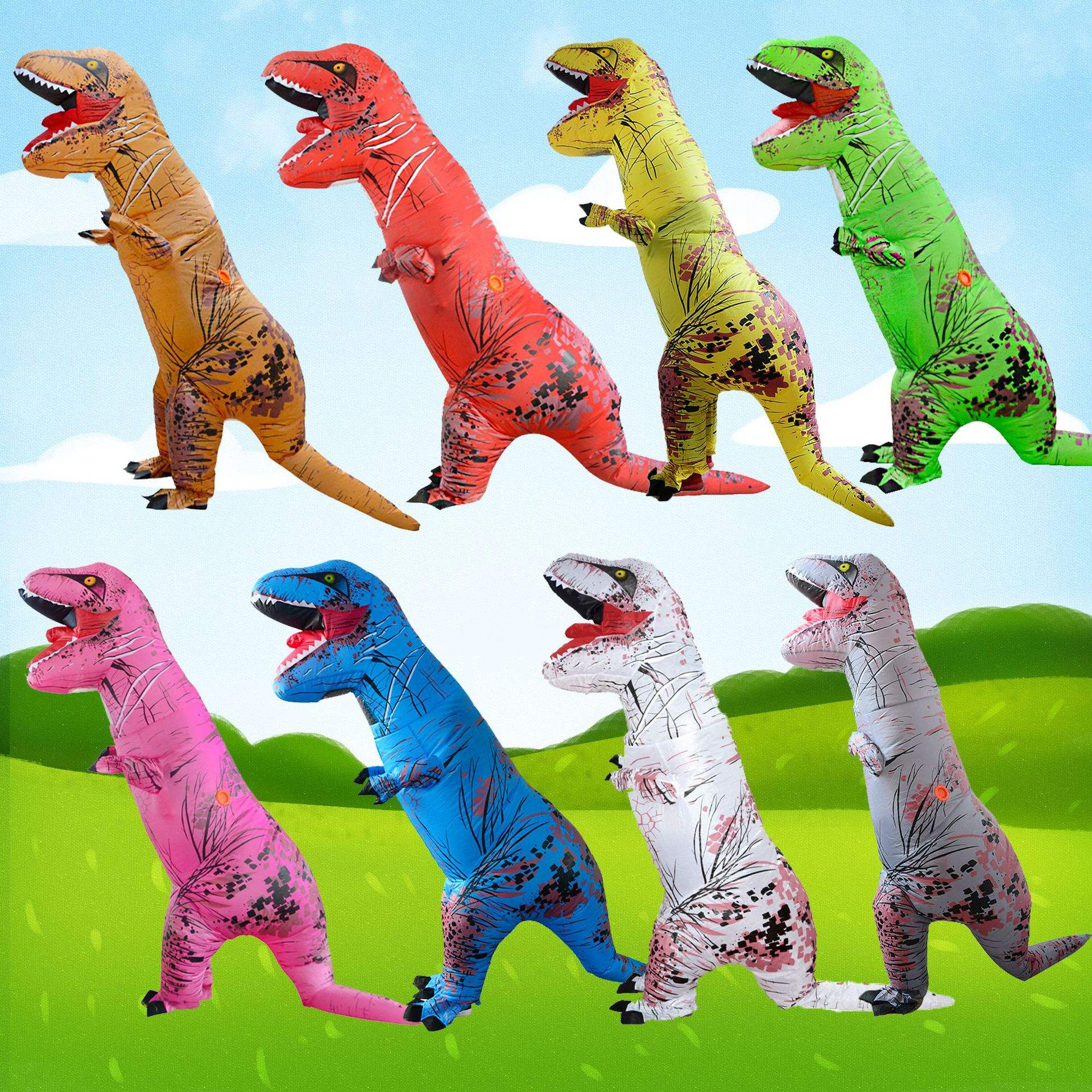 Halloween Christmas Dinosaur Inflatable Suit Tyrannosaurus Wreck Inflatable Clothing Cosplay Performance Costume Child Adult