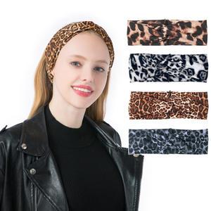 Factory Wholesale Leopard Print Hair Accessories Soft Fabric Cross Knot Hair Accessories For Women European American Headband