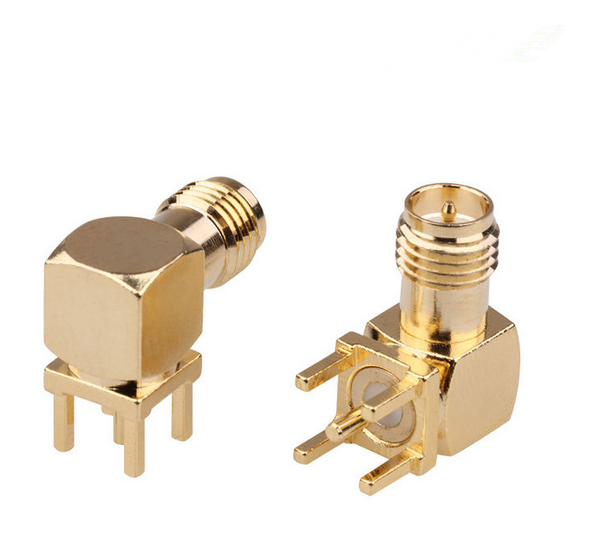 SMA Female Connector Right Angle Connector RF Coaxial Connector For PCB Mount