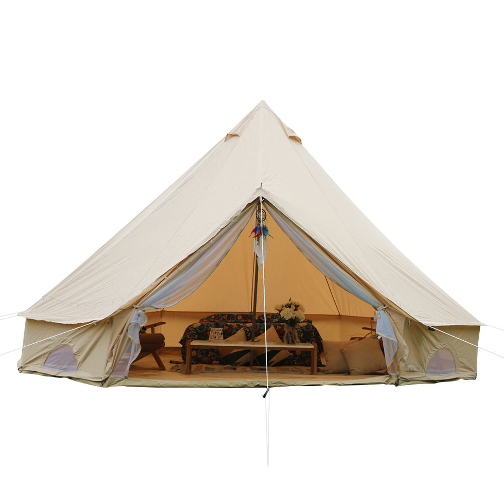 Supply outdoor arabic canvascamp family tent 3m 4m 5m 6m 7m cotton canvas bell tent for glamping