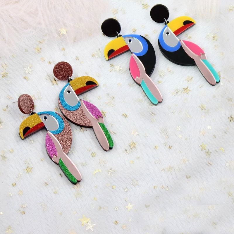 HP009 70mm Acrylic Bird Earrings Vintage Bird Toucan Drop Earring High Quality Acrylic Glitter Laser Cutout toucan earrings