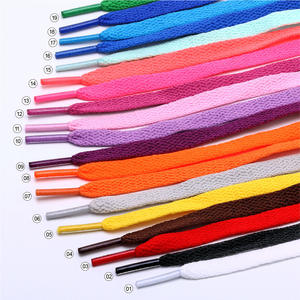 Youki custom high quality flat shoelace 8 mm wide 0.5-2.2m length , wholesale 57 colors flat shoelaces for sneakers