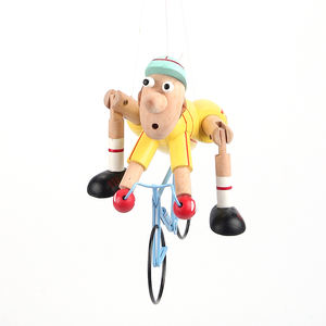New Arrival creative DIY wooden yellow puppet cyclist children pendant windmill toy