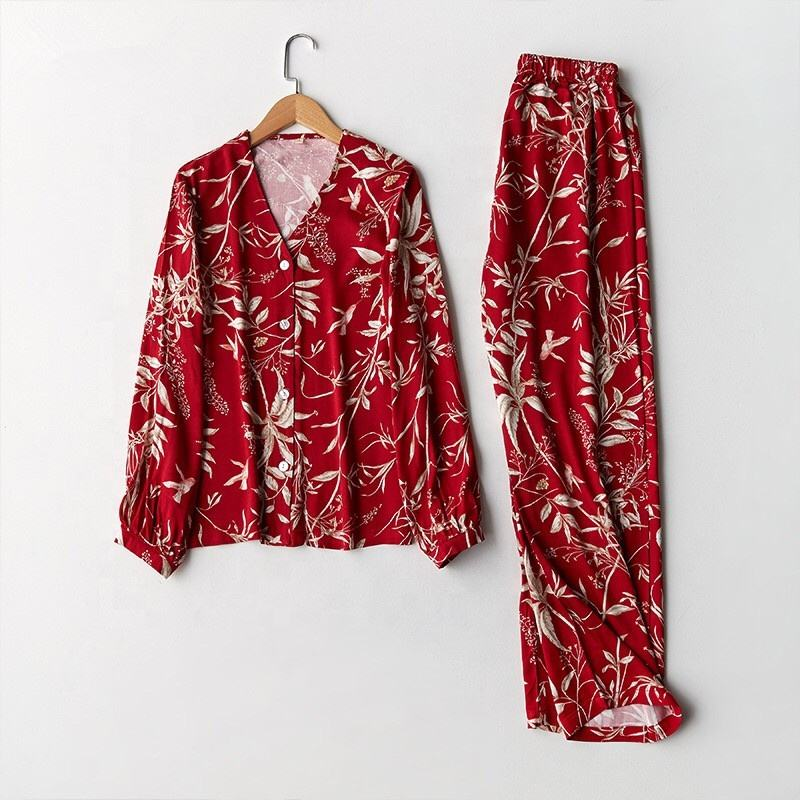 Ladies printed japanese rayon cotton western pajamas with button