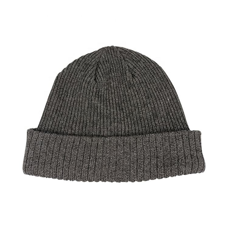Wholesale Unisex Windproof Wool Beanie with 3M thinsulate Ribbed Winter Ski Hat