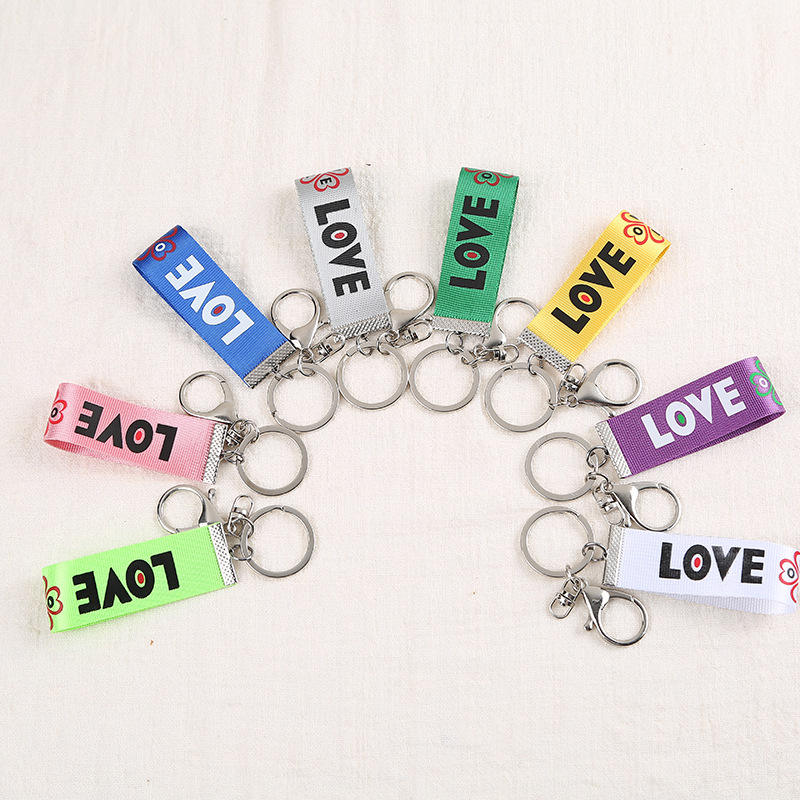 Custom Small Gift Korean Version Popular DIY Letter LOVE Ribbon Pendant Jewelry Accessories Keychain