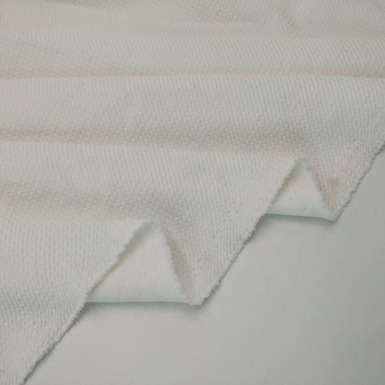 Well performed normal white poly span double jacquard knit bubble fabric