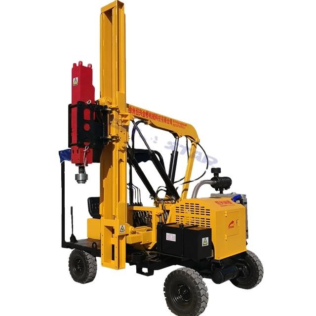 hydraulic pile driver and post hole digger