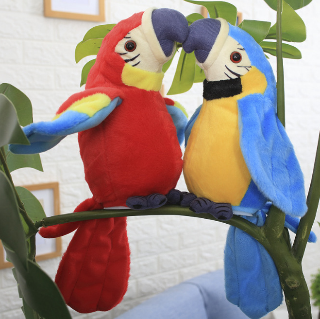 Wholesale Electric Plush Toy Parrot Electric Recording Talking Parrot Twisting Flapping Wings Toy