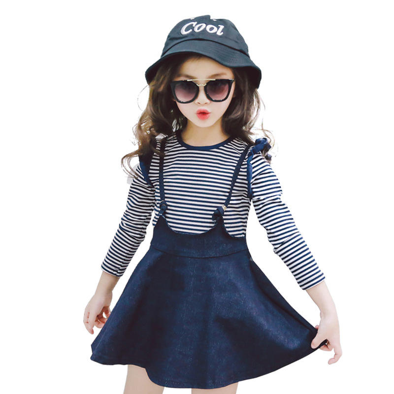 Alibaba Website Autumn Korean Style Kid's Girl Clothes Striped Long Sleeves Denim Strap Skirt Two Piece Set