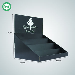 2019 Hot Sale Custom Logo Black Cardboard Cosmetics Display Stand Eyelash Counter Display For Retail