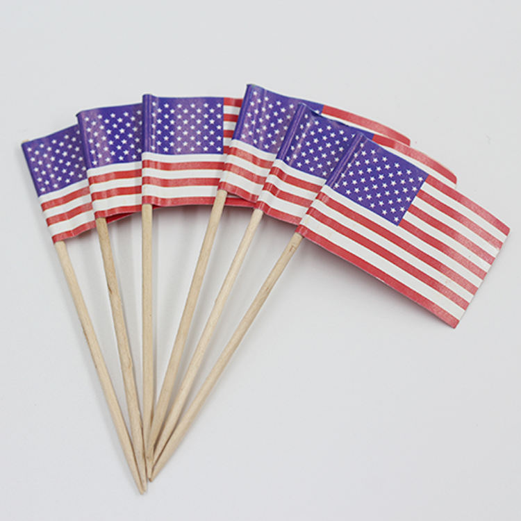 2021 Custom Flag Wooden Food Picks Cocktail Toothpicks Flags