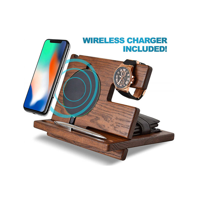 Wood [ Station Organizer ] Wood Docking Station Phone Wireless Charger Ash Key Holder Wallet Stand Watch Organizer Men Gift