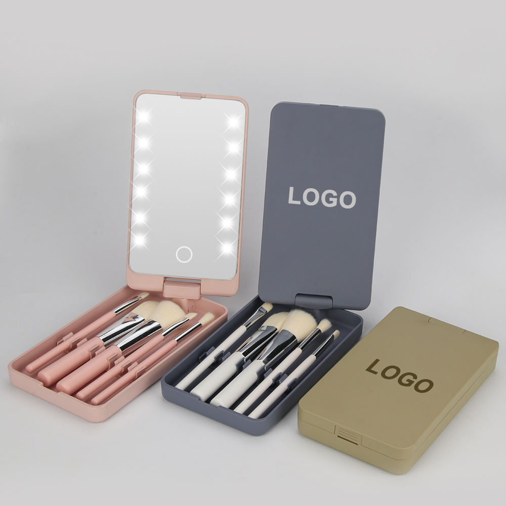 MBA2 private label custom set de brochas para maquillaje profesional Makeup Brush Set with Mirror Case