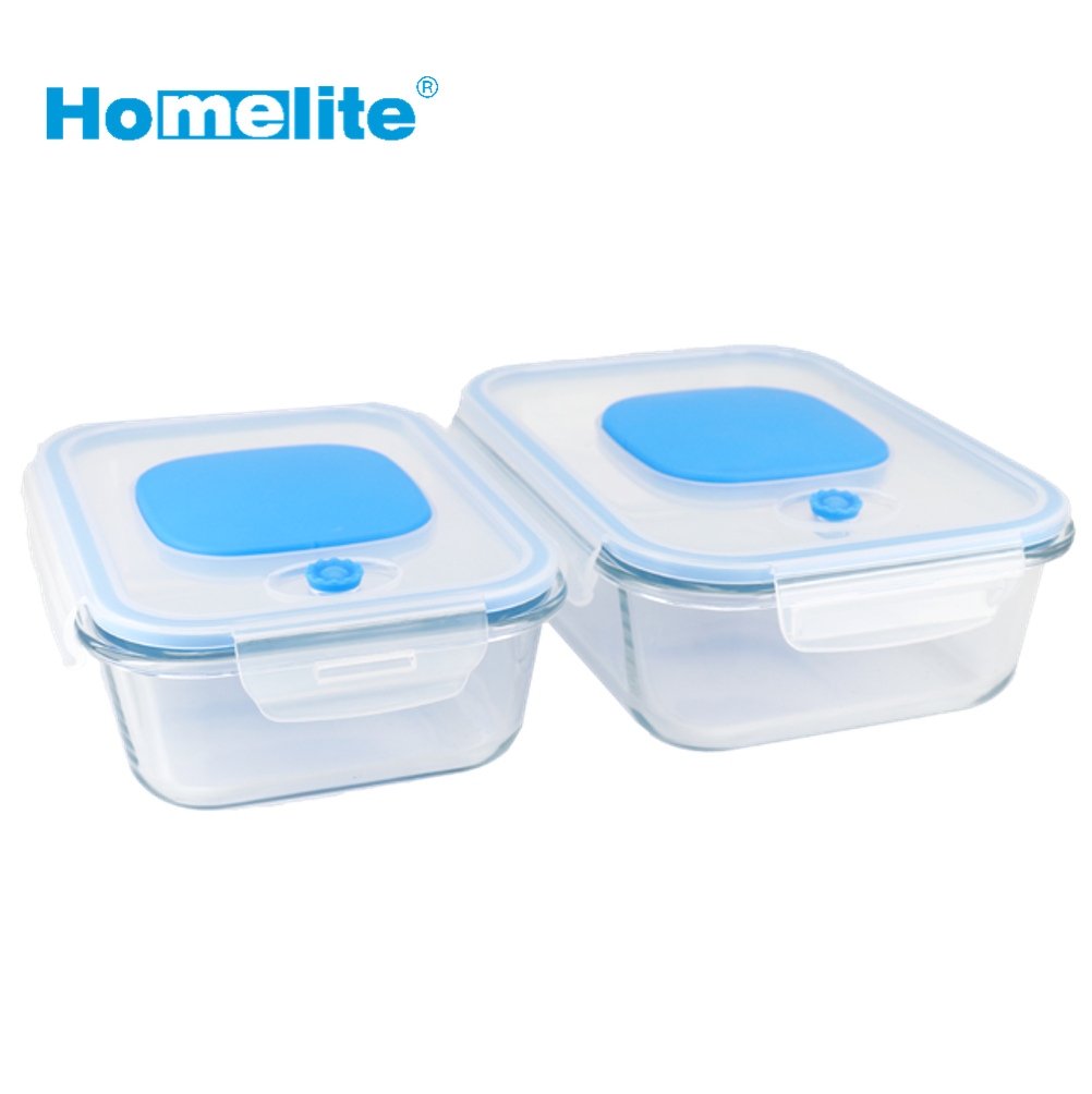 Negative pressure glass food meal prep container with vacuum pump integrated in lid convenient air venting bento box set