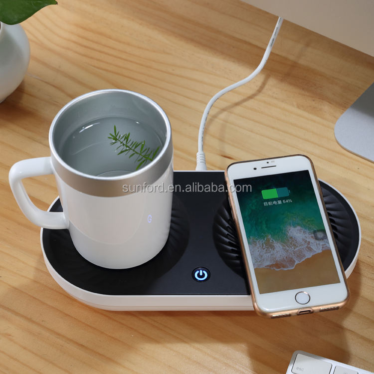 new arrivals 2021 innovative gift items wireless charger desktop portable electronic cold hot cup holder valentine gifts