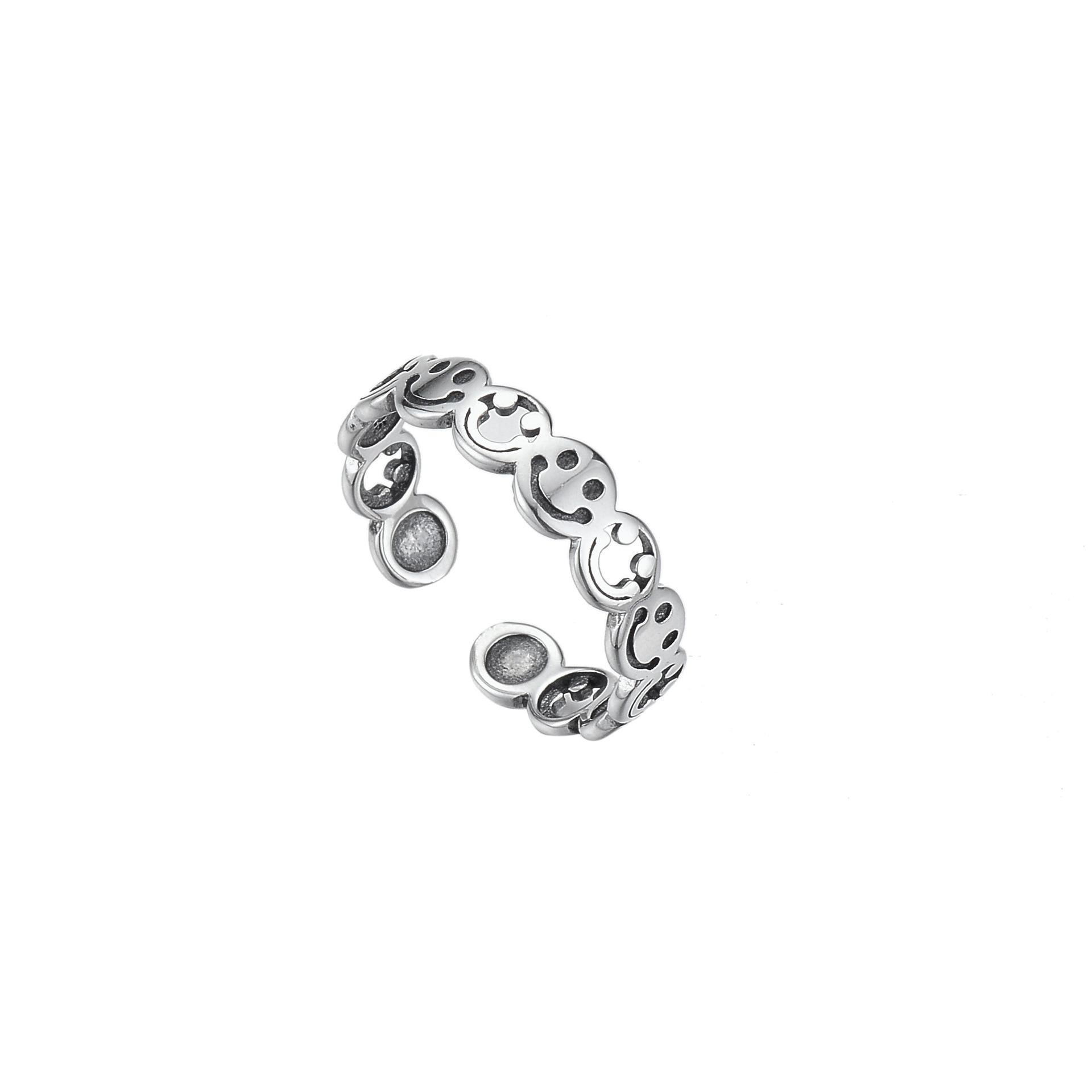 S925 Sterling Silver Retro Smile Couple Ring Smiley Open Adjustable Ring for Men and Women
