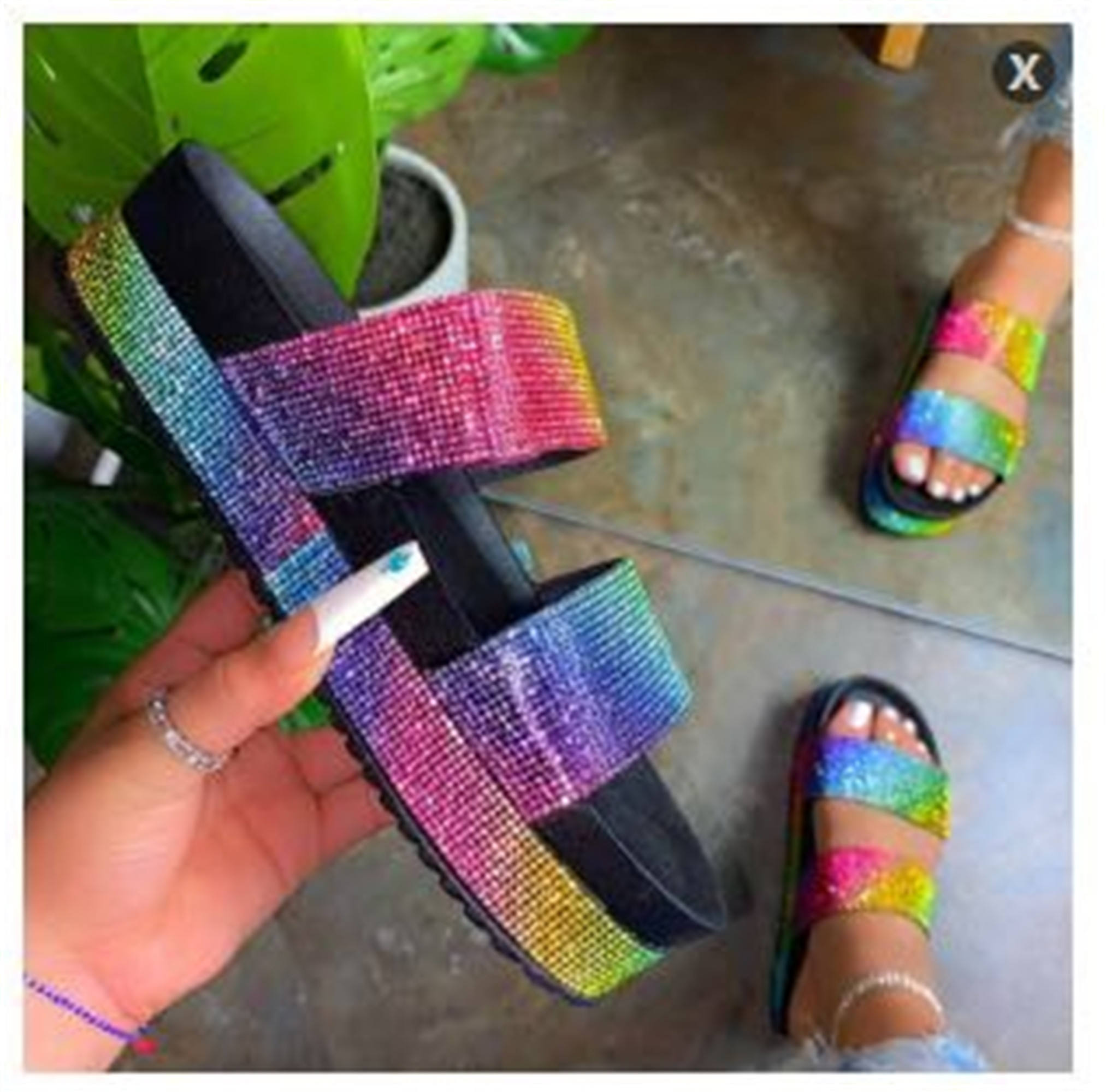 coloful diamond most new summer ladies bling platform rhinestone sandals with real video women slides