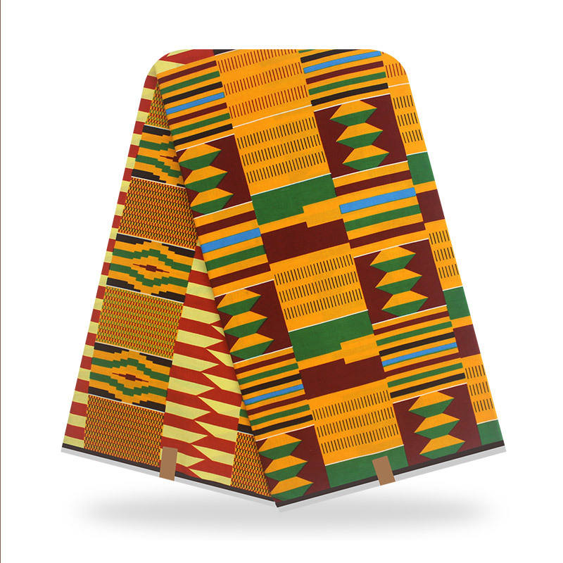 Top Fashion african wax fabrics real printing wax in 100% cotton fabric ghana kente design 6yards/lot best quality for women